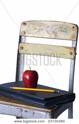 Old School Chair With Laptop, Apple And Pencil