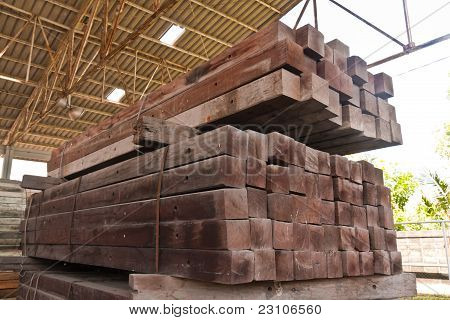 Wood Girder Stacked In Group