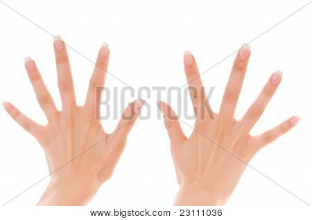 Two Women's Hands With Fingers Spread