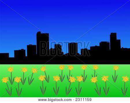 Denver Skyline In Spring