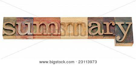 Summary Word In Letterpress Type