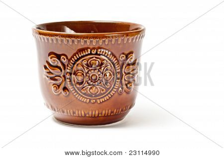 Brown Pot With Embossing