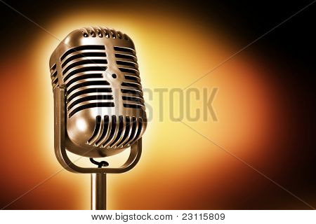 retro microphone, side view, on color background