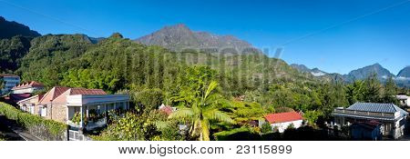 Panoramic landscape of the village of Hell-bourg, Reunion Island, France.