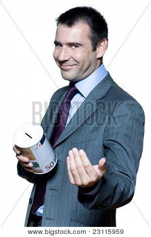 Portret van lachende expressieve knappe zakenman over stock marktcrisis in studio op geïsoleerde whi