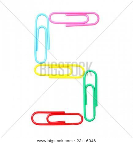 Colorful number five from paperclips. One part of funny school or office alphabet.