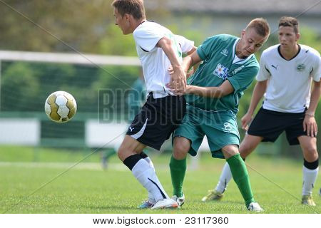 KAPOSVAR, HUNGARY - AUGUST 27: Milan Korona (green 8) in action at the Hungarian National Championship under 18 game between Kaposvar (green) and Gyor (white) August 27, 2011 in Kaposvar, Hungary.