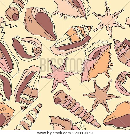 Seamless beige ocean pattern with different shells