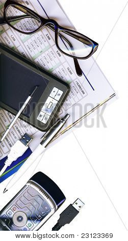 Mobile office: pda, phone, pen and usb cabels isolated on white