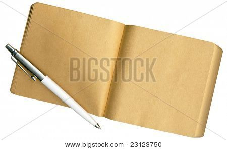 A Notebook made of eco-friendly paper, isolated o white, with Clipping Path