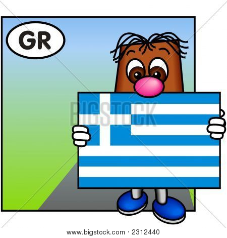 'Brownie' Showing The Flag Of Greece