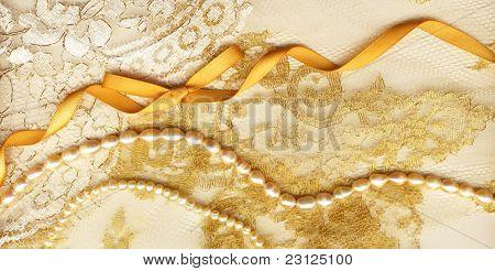 Golden textile wedding background