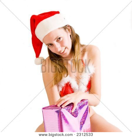 Navidad sexy chica que presenta actualmente