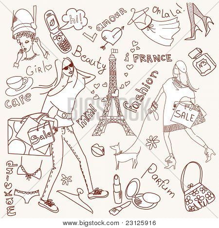 feminine doodles, Shopping in Paris