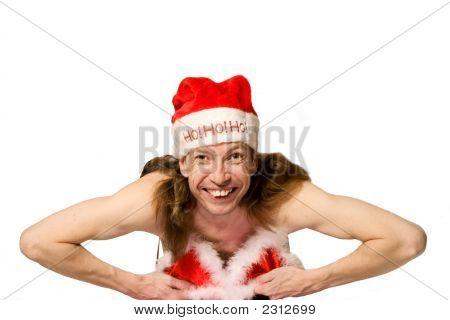 Humor Navidad hombre en Bikini haciendo Striptease