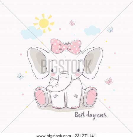 Little Elephant Girl Vector Illustration