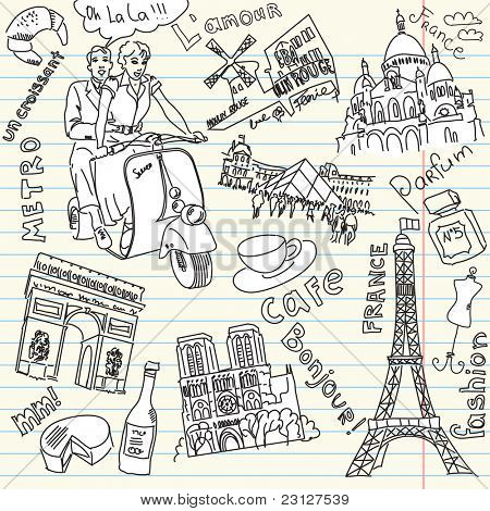 Sightseeing in Paris doodles