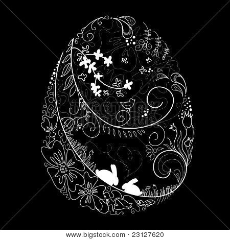 Black and White Easter egg illustration