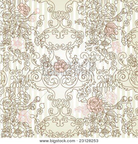 Vintage floral background. Vector illustration.