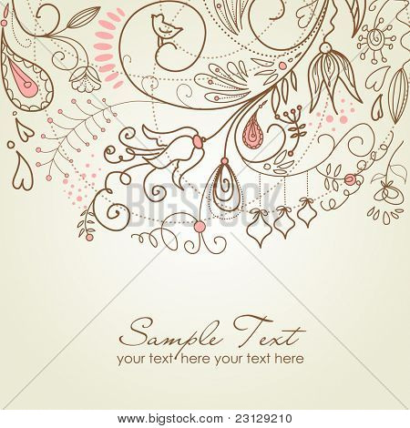 Floral hand drawn Christmas background