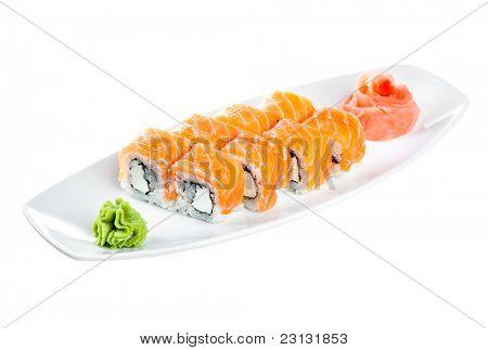 Japanese Cuisine - Sushi (Roll unagi maki syake) on a white background