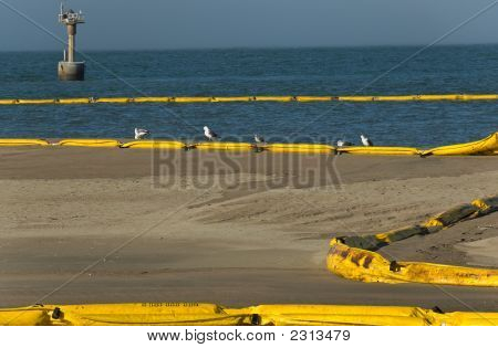 Barriers Protect Beach From Oil Spill