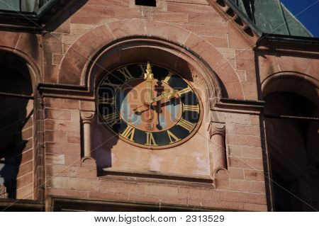Clock On Protesant Church In Weilerbach, Germany