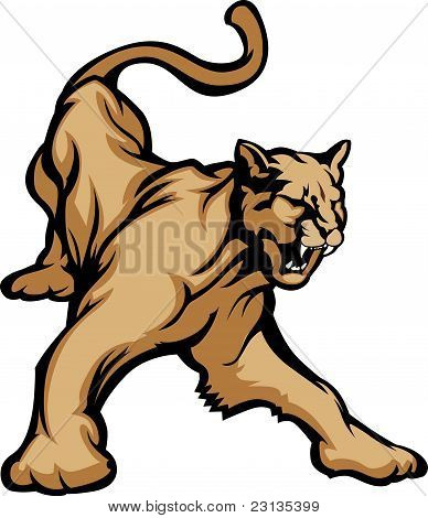 Puma mascota cuerpo Vector Illustration