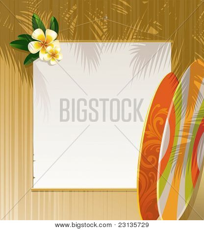 Frangipani flowers, surfboards and banner on a wooden wall - resort & travel illustration. (Vector version of this work is available in my portfolio: # 47565292)