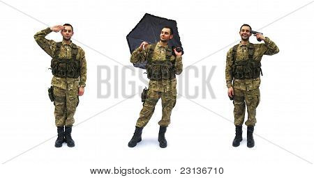 salute and crazy soldier white background