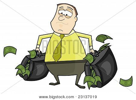 Businessman with a suitcases full of money.