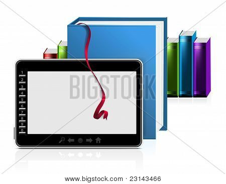 E-book reader with stack of books on white