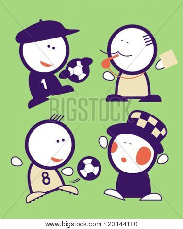 Set of football funny peoples icons.