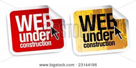Web under construction stickers set.