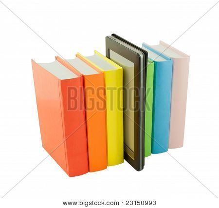 Row Of Colorful Books And Electronic Book Reader Isolated On White