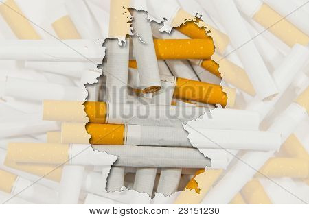 Outline Map Of Germany With Transparent Cigarettes In Background