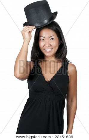 Asian Woman Wearing A Top Hat