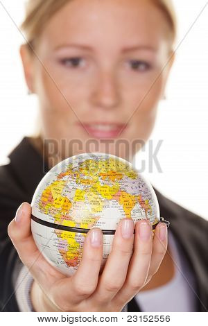 Women with a globe in his hand