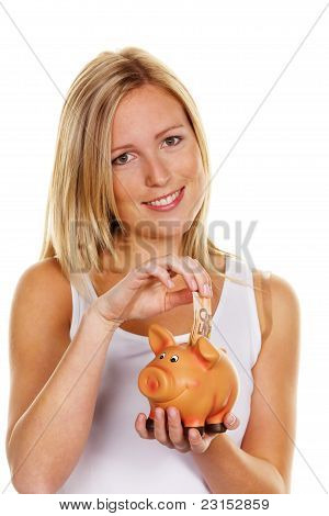young woman, to save money. Euro sham