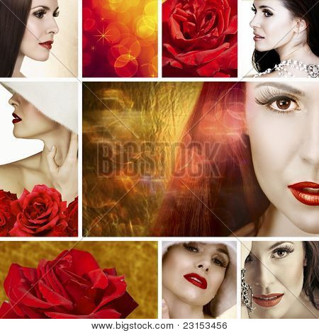Collage of beautiful brunette woman with white necklace and soft smile. With red roses and bokeh effect background.