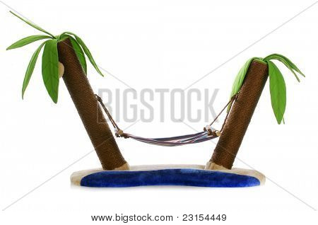 cat bed with scratching post - hammock between two palm trees on white background