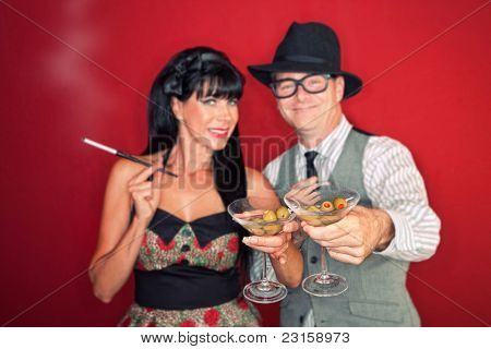 Couple Toast Martinis