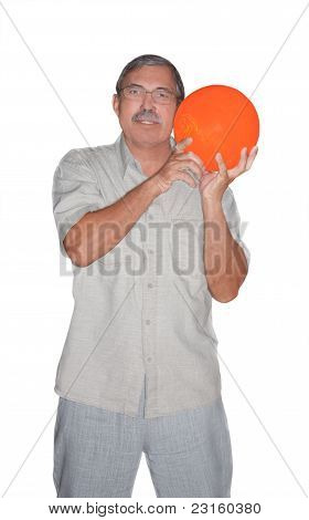 Senior Man Holding Bowling Ball Isolated