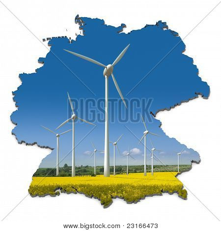 Wind turbines in an abstract map of Germany