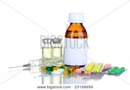 Medical bottles, ampoule, syringe and pills isolated on white