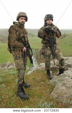 Two Young Soldiers Outdoors
