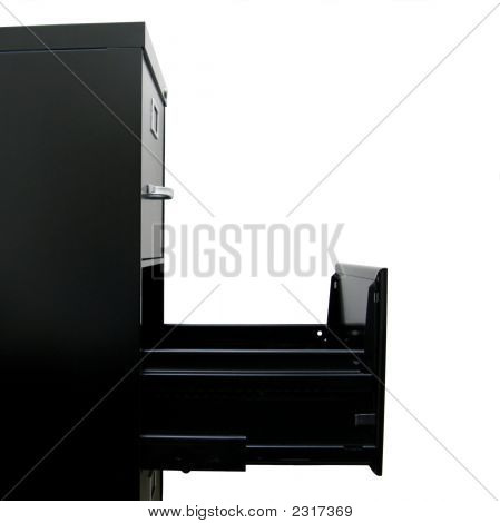 Profile Of Black File Cabinet With Empty Drawer