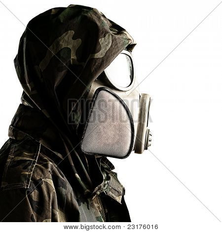 portrait of soldier with gas mask against a white background