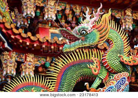 traditionelle chinesische Drachen Dekoration auf Dach des Tempels