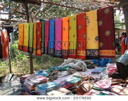 Colorful Saris Are On Sale At The Weekly Market